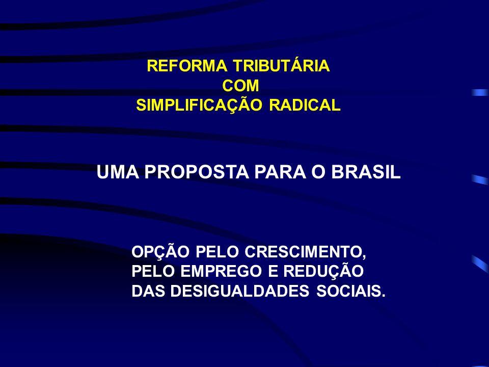 REFORMA TRIBUTÁRIA COM SIMPLIFICAÇÃO RADICAL UMA PROPOSTA PARA O BRASIL OPÇÃO PELO CRESCIMENTO, PELO EMPREGO E REDUÇÃO DAS DESIGUALDADES SOCIAIS.