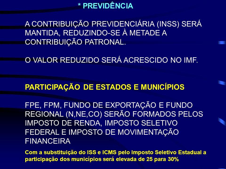 * PREVIDÊNCIA A CONTRIBUIÇÃO PREVIDENCIÁRIA (INSS) SERÁ MANTIDA, REDUZINDO-SE À METADE A CONTRIBUIÇÃO PATRONAL. O VALOR REDUZIDO SERÁ ACRESCIDO NO IMF