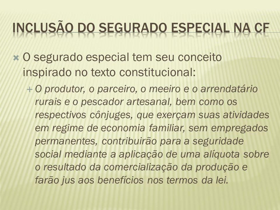O segurado especial tem seu conceito inspirado no texto constitucional: O produtor, o parceiro, o meeiro e o arrendatário rurais e o pescador artesana