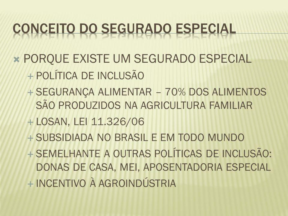 PORQUE EXISTE UM SEGURADO ESPECIAL POLÍTICA DE INCLUSÃO SEGURANÇA ALIMENTAR – 70% DOS ALIMENTOS SÃO PRODUZIDOS NA AGRICULTURA FAMILIAR LOSAN, LEI 11.3