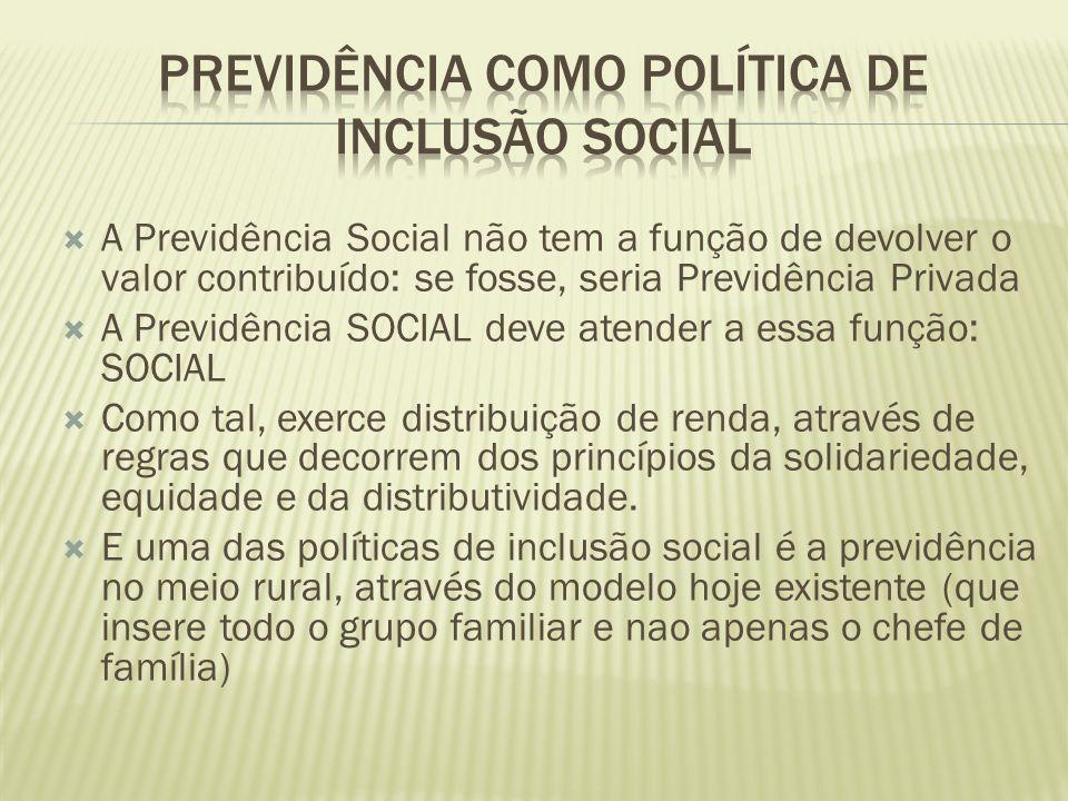 A Previdência Social não tem a função de devolver o valor contribuído: se fosse, seria Previdência Privada A Previdência SOCIAL deve atender a essa fu