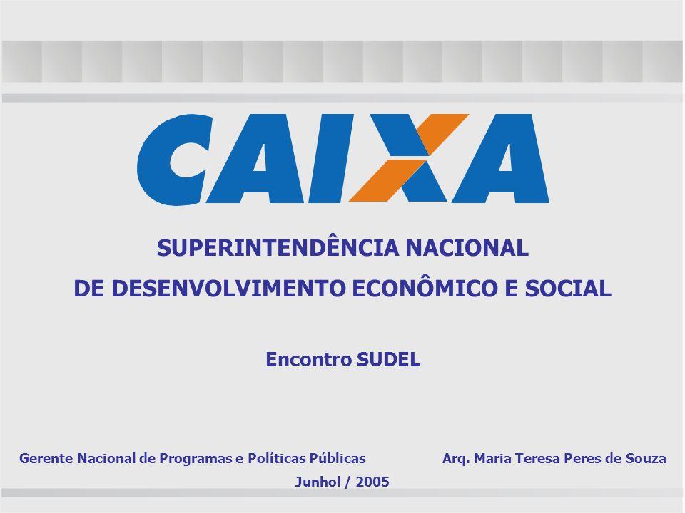 SUPERINTENDÊNCIA NACIONAL DE DESENVOLVIMENTO ECONÔMICO E SOCIAL Encontro SUDEL Gerente Nacional de Programas e Políticas Públicas Arq. Maria Teresa Pe