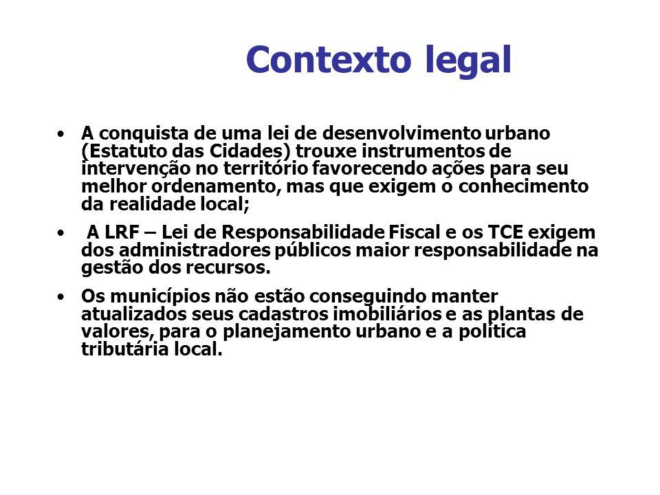 Contexto legal A conquista de uma lei de desenvolvimento urbano (Estatuto das Cidades) trouxe instrumentos de intervenção no território favorecendo aç