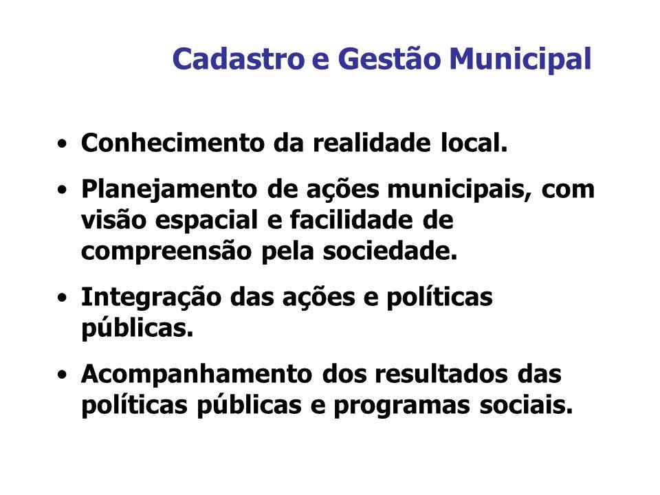 Cadastro e Gestão Municipal Conhecimento da realidade local. Planejamento de ações municipais, com visão espacial e facilidade de compreensão pela soc