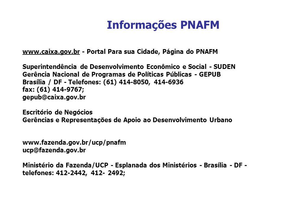 Informações PNAFM www.caixa.gov.br - Portal Para sua Cidade, Página do PNAFM Superintendência de Desenvolvimento Econômico e Social - SUDEN Gerência N