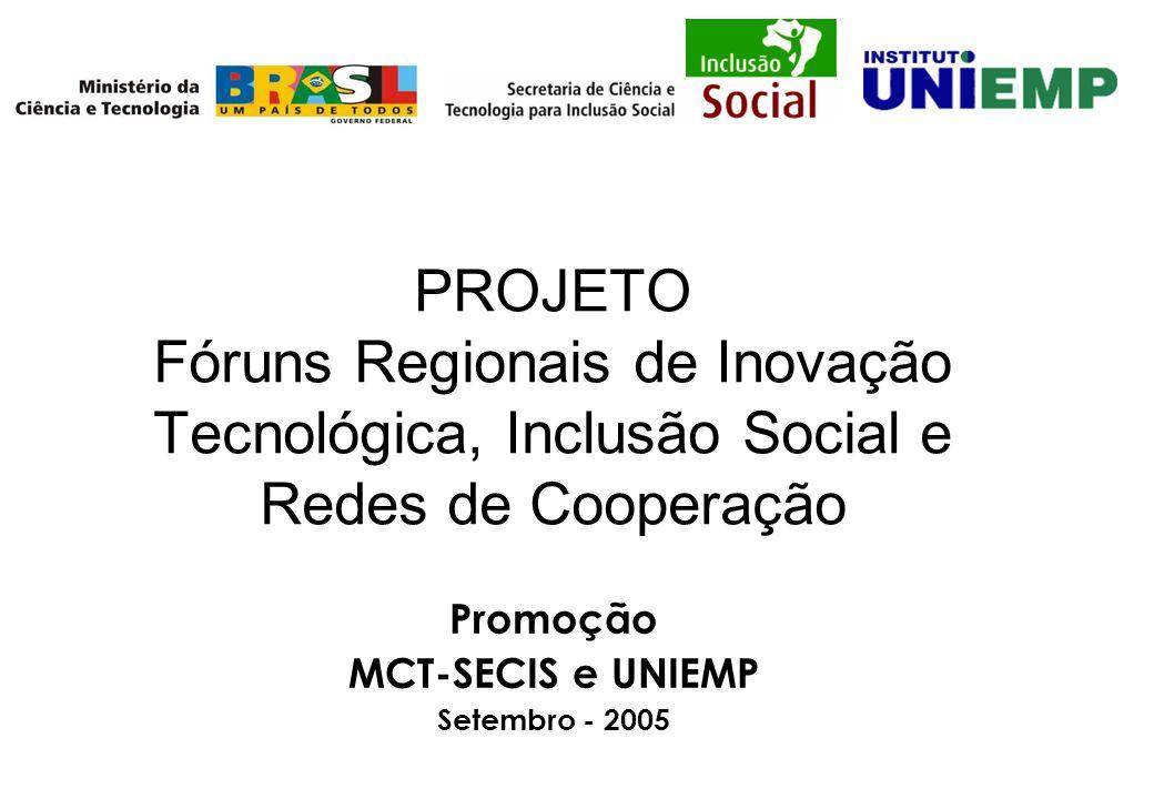 PROJETO Fóruns Regionais de Inovação Tecnológica, Inclusão Social e Redes de Cooperação Promoção MCT-SECIS e UNIEMP Setembro - 2005