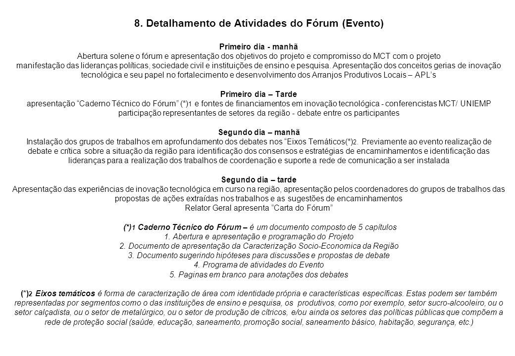 8. Detalhamento de Atividades do Fórum (Evento) Primeiro dia - manhã Abertura solene o fórum e apresentação dos objetivos do projeto e compromisso do