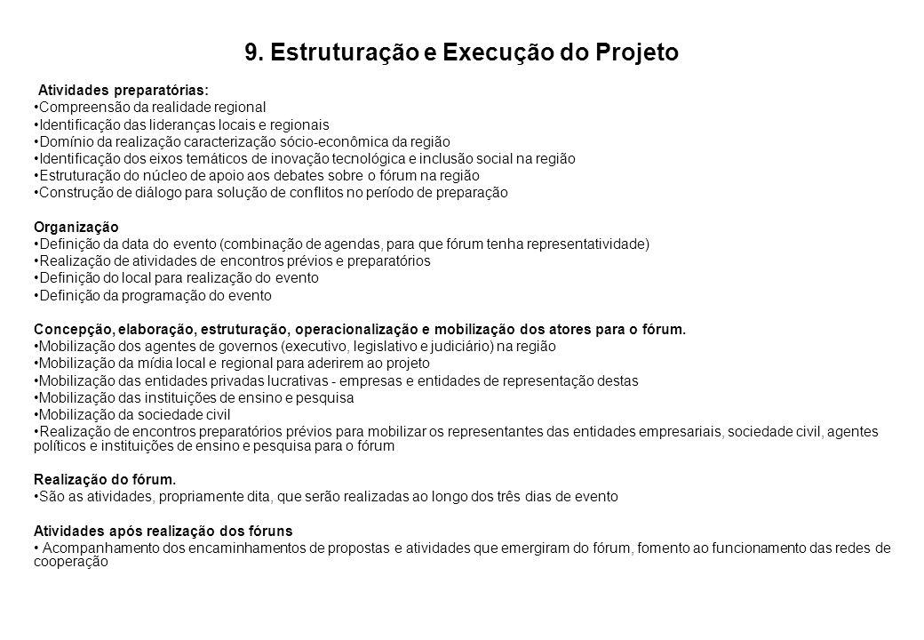 9. Estruturação e Execução do Projeto Atividades preparatórias: Compreensão da realidade regional Identificação das lideranças locais e regionais Domí