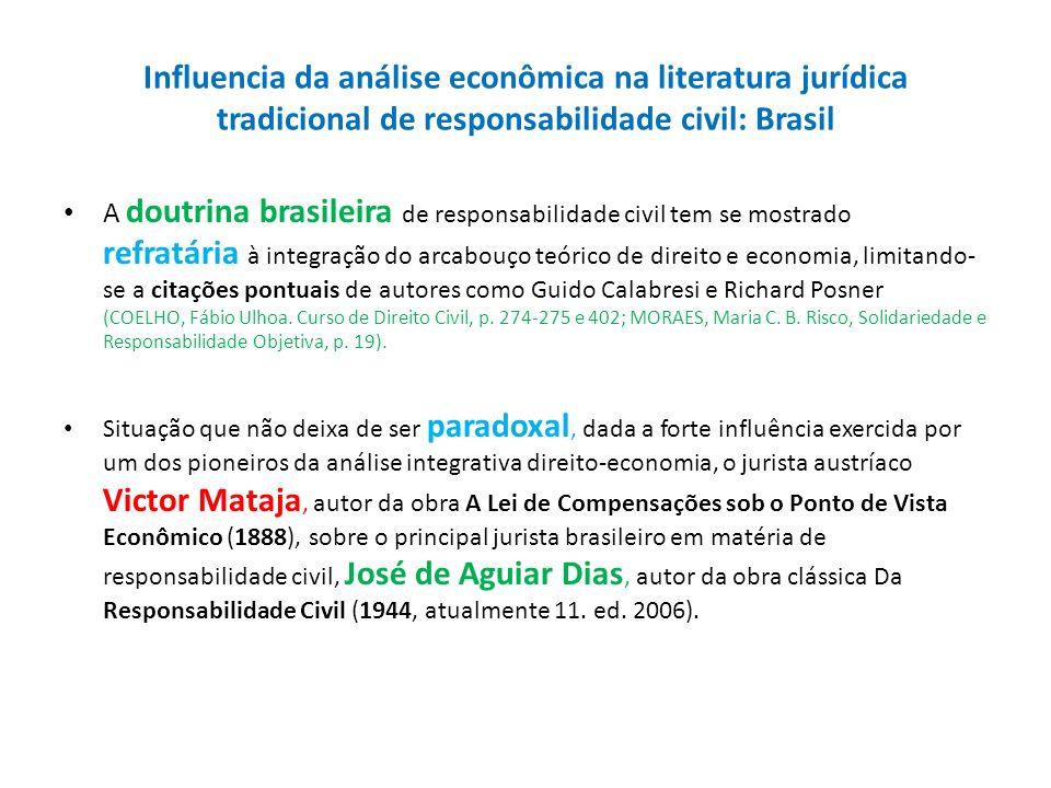 Influencia da análise econômica na literatura jurídica tradicional de responsabilidade civil: Brasil A doutrina brasileira de responsabilidade civil t