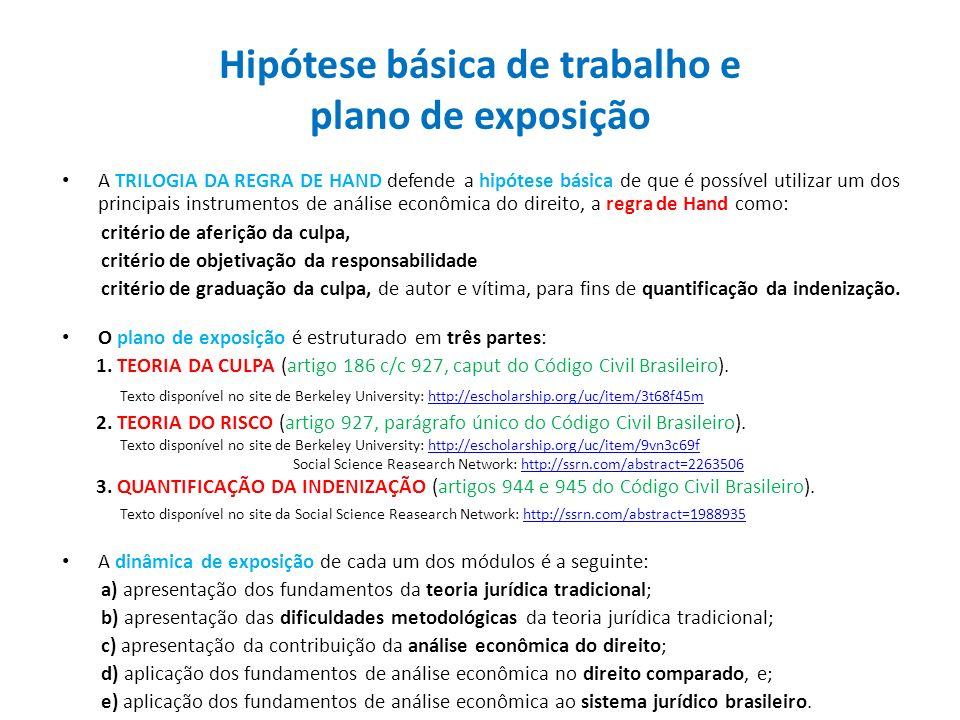 Hipótese básica de trabalho e plano de exposição A TRILOGIA DA REGRA DE HAND defende a hipótese básica de que é possível utilizar um dos principais in
