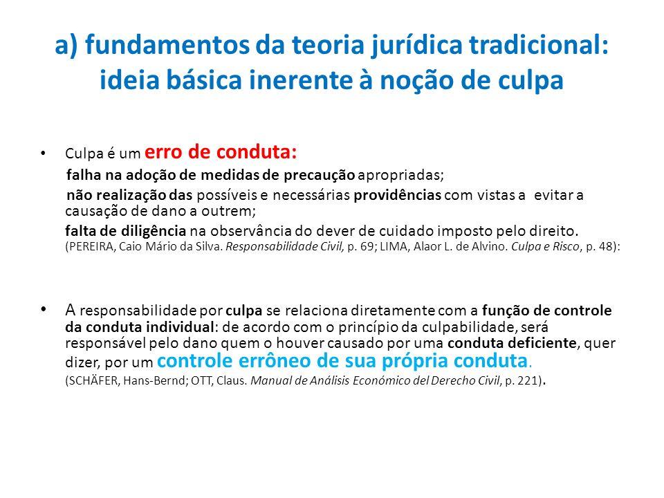 a) fundamentos da teoria jurídica tradicional: ideia básica inerente à noção de culpa Culpa é um erro de conduta: falha na adoção de medidas de precau