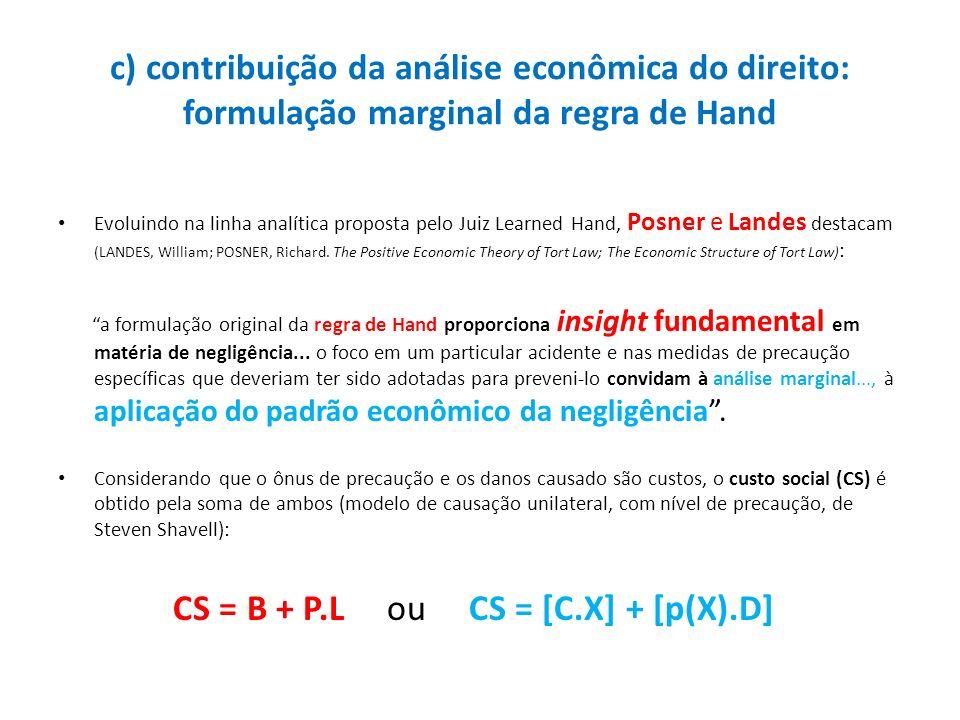 c) contribuição da análise econômica do direito: formulação marginal da regra de Hand Evoluindo na linha analítica proposta pelo Juiz Learned Hand, Po