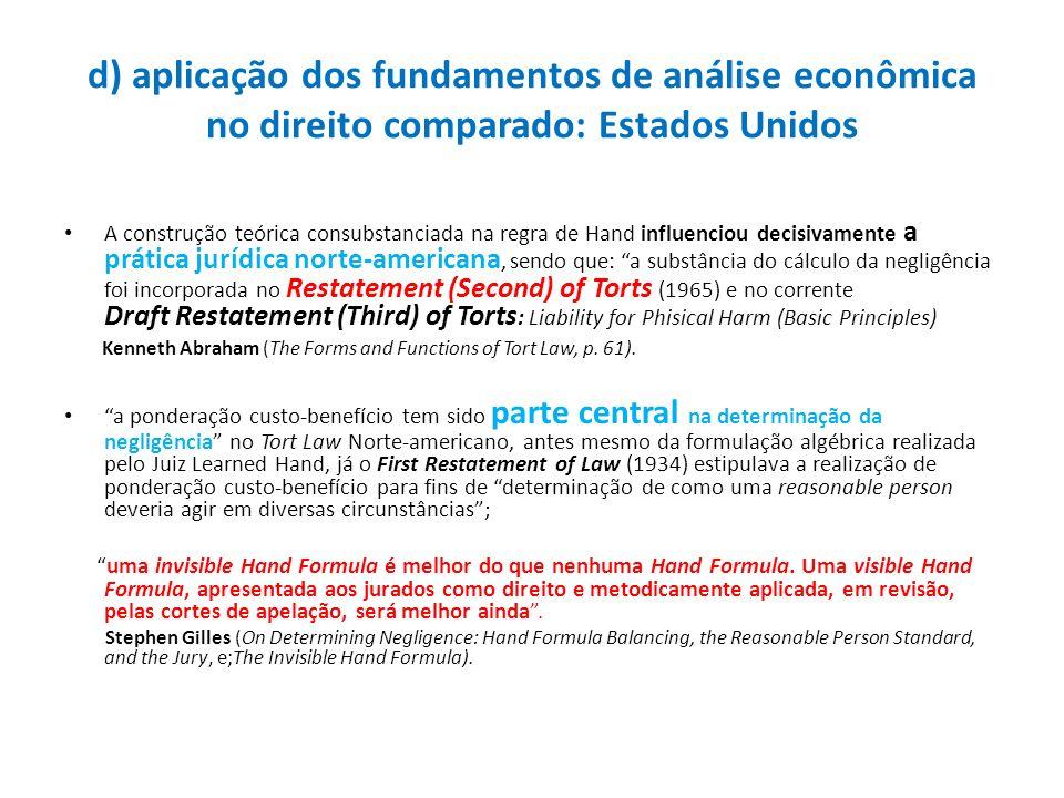 d) aplicação dos fundamentos de análise econômica no direito comparado: Estados Unidos A construção teórica consubstanciada na regra de Hand influenci