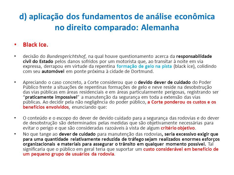 d) aplicação dos fundamentos de análise econômica no direito comparado: Alemanha Black Ice. decisão do Bundesgerichtshof, na qual houve questionamento