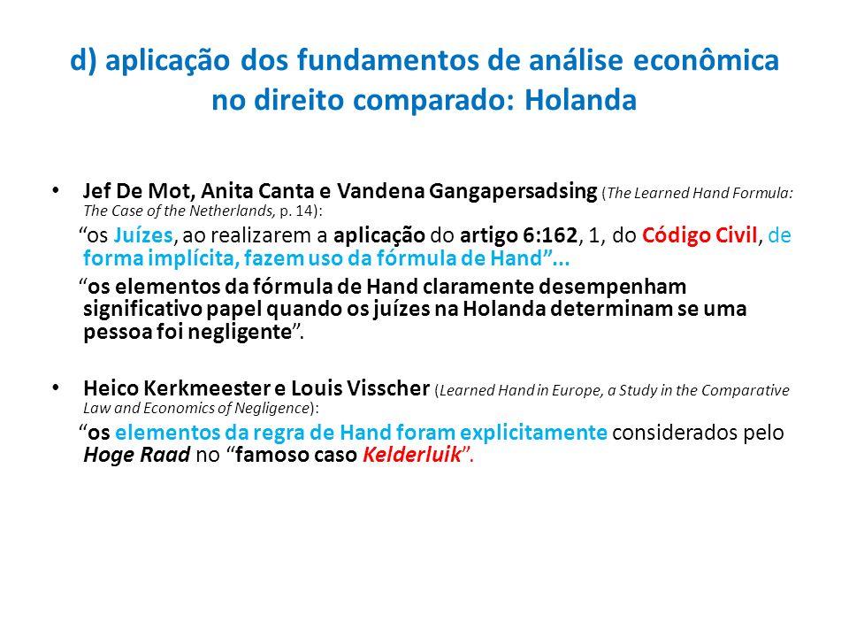 d) aplicação dos fundamentos de análise econômica no direito comparado: Holanda Jef De Mot, Anita Canta e Vandena Gangapersadsing (The Learned Hand Fo