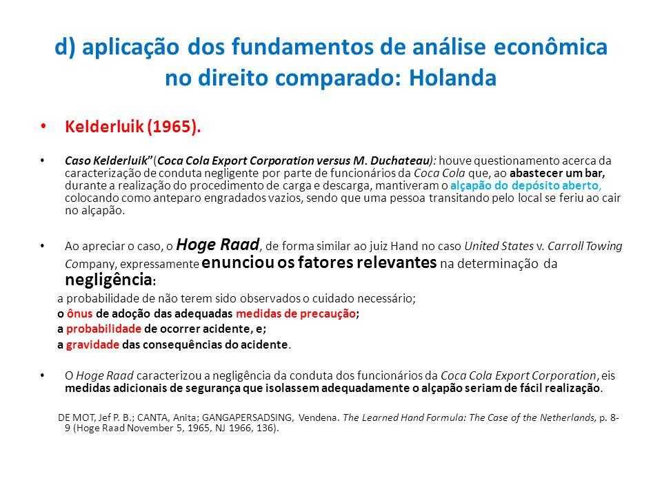 d) aplicação dos fundamentos de análise econômica no direito comparado: Holanda Kelderluik (1965). Caso Kelderluik(Coca Cola Export Corporation versus