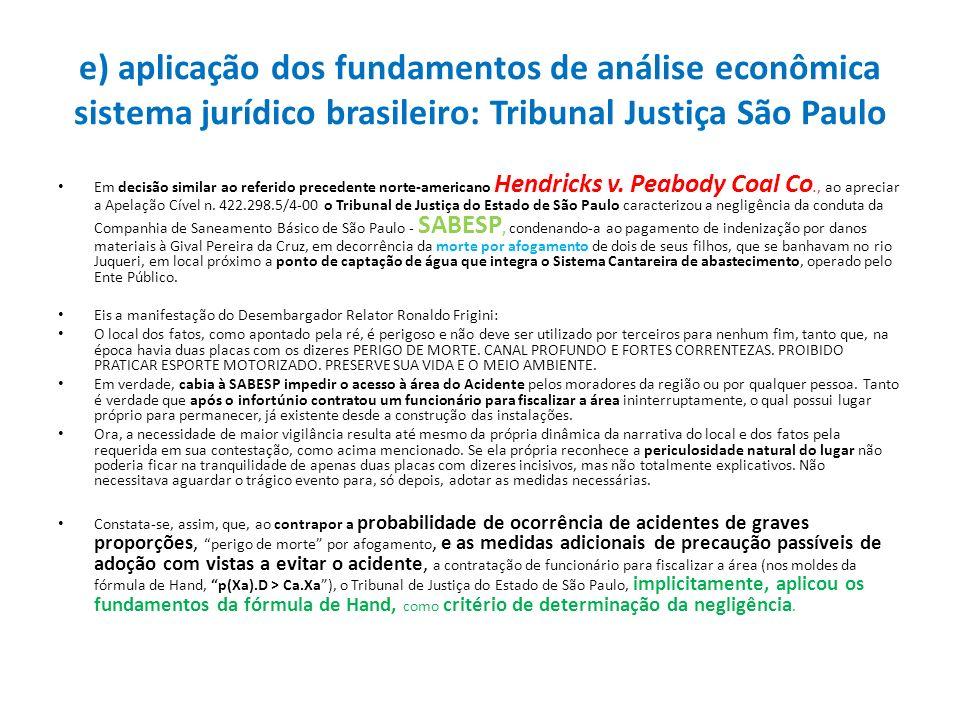 e) aplicação dos fundamentos de análise econômica sistema jurídico brasileiro: Tribunal Justiça São Paulo Em decisão similar ao referido precedente no