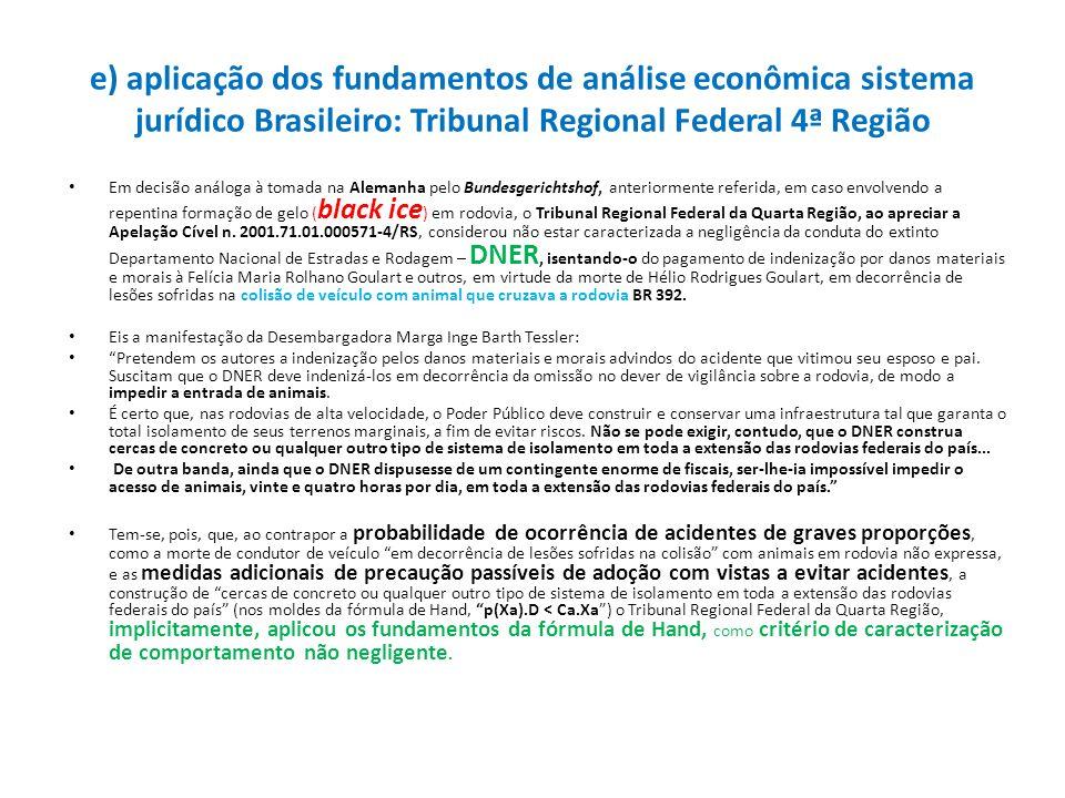 e) aplicação dos fundamentos de análise econômica sistema jurídico Brasileiro: Tribunal Regional Federal 4ª Região Em decisão análoga à tomada na Alem