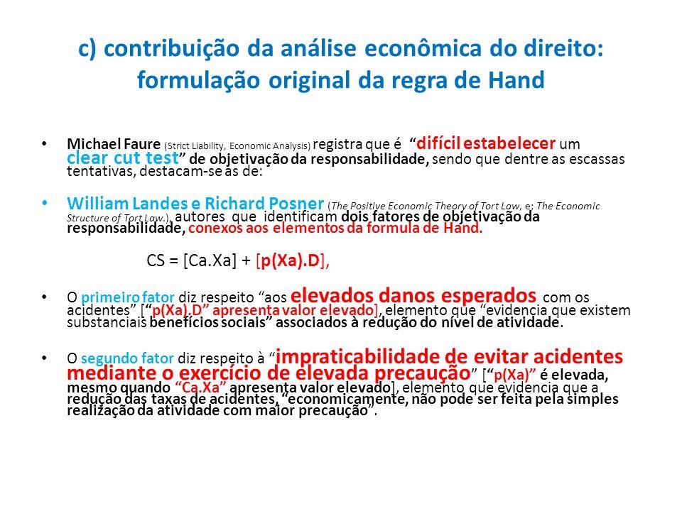 c) contribuição da análise econômica do direito: formulação original da regra de Hand Michael Faure (Strict Liability, Economic Analysis) registra que