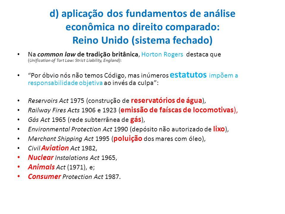d) aplicação dos fundamentos de análise econômica no direito comparado: Reino Unido (sistema fechado) Na common law de tradição britânica, Horton Roge