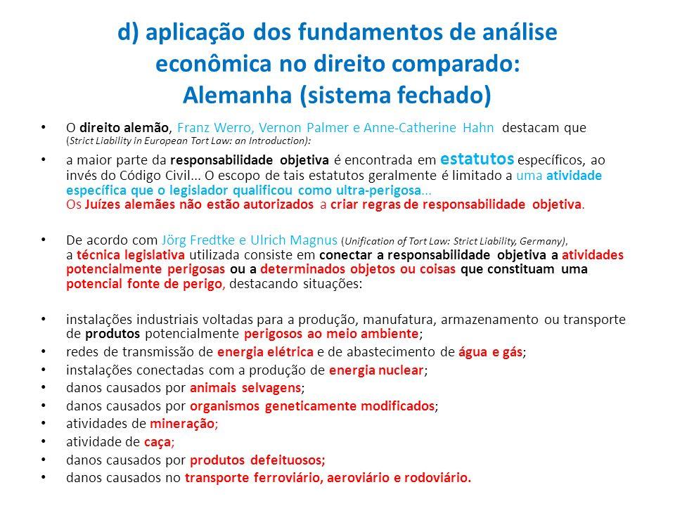 d) aplicação dos fundamentos de análise econômica no direito comparado: Alemanha (sistema fechado) O direito alemão, Franz Werro, Vernon Palmer e Anne