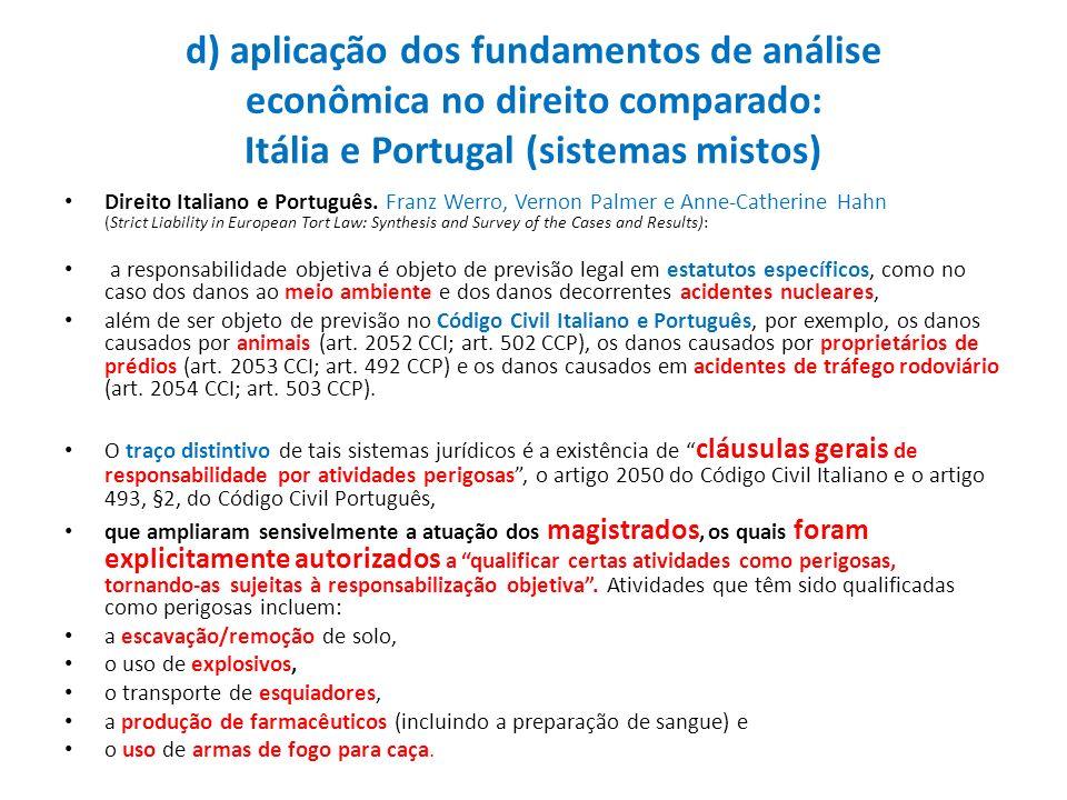 d) aplicação dos fundamentos de análise econômica no direito comparado: Itália e Portugal (sistemas mistos) Direito Italiano e Português. Franz Werro,