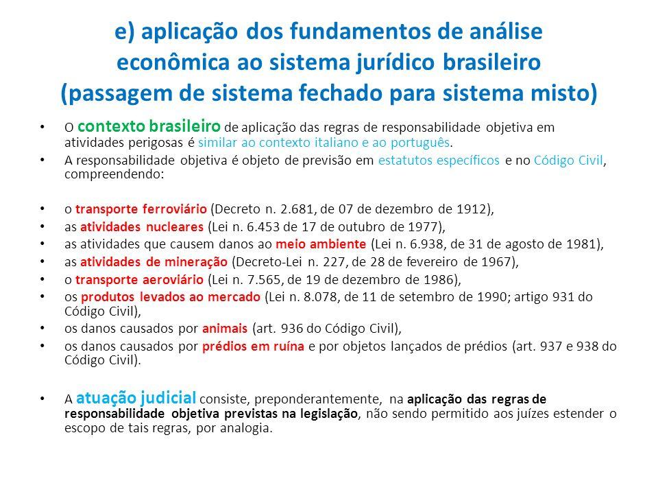 e) aplicação dos fundamentos de análise econômica ao sistema jurídico brasileiro (passagem de sistema fechado para sistema misto) O contexto brasileir
