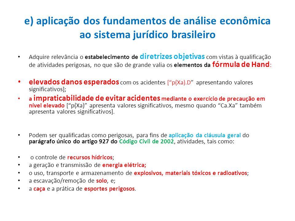 e) aplicação dos fundamentos de análise econômica ao sistema jurídico brasileiro Adquire relevância o estabelecimento de diretrizes objetivas com vist