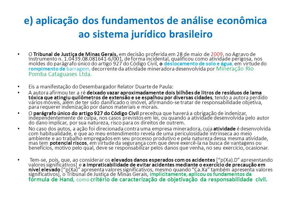 e) aplicação dos fundamentos de análise econômica ao sistema jurídico brasileiro O Tribunal de Justiça de Minas Gerais, em decisão proferida em 28 de
