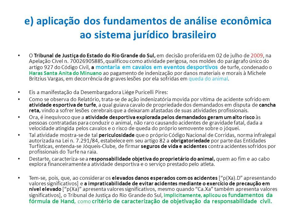 e) aplicação dos fundamentos de análise econômica ao sistema jurídico brasileiro O Tribunal de Justiça do Estado do Rio Grande do Sul, em decisão prof