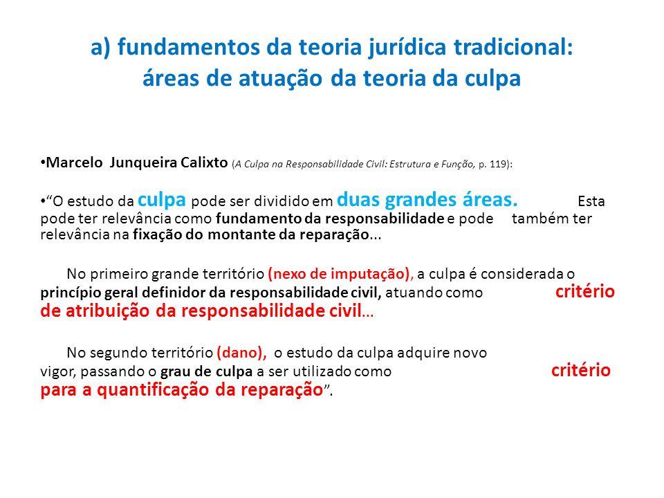 a) fundamentos da teoria jurídica tradicional: áreas de atuação da teoria da culpa Marcelo Junqueira Calixto (A Culpa na Responsabilidade Civil: Estru