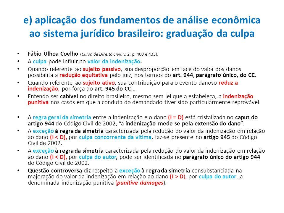 e) aplicação dos fundamentos de análise econômica ao sistema jurídico brasileiro: graduação da culpa Fábio Ulhoa Coelho (Curso de Direito Civil, v. 2,