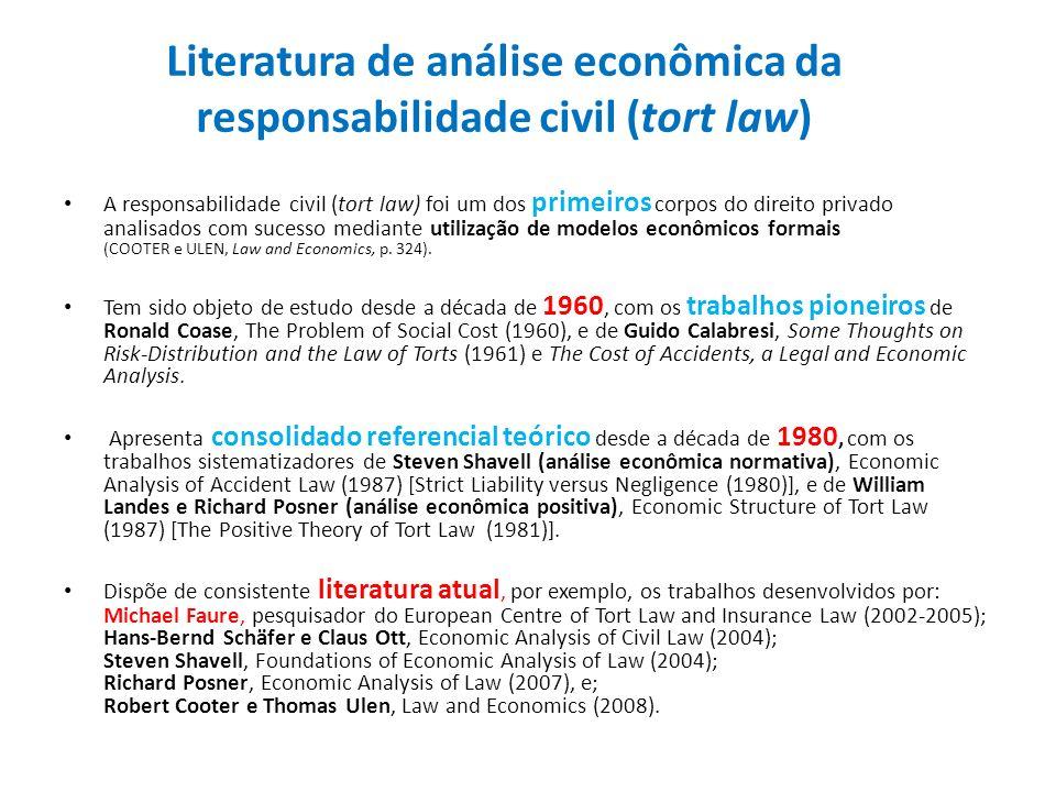 Literatura de análise econômica da responsabilidade civil (tort law) A responsabilidade civil (tort law) foi um dos primeiros corpos do direito privad