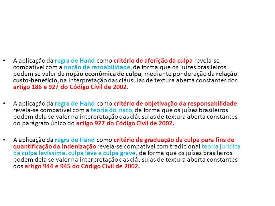 A aplicação da regra de Hand como critério de aferição da culpa revela-se compatível com a noção de razoabilidade, de forma que os juízes brasileiros