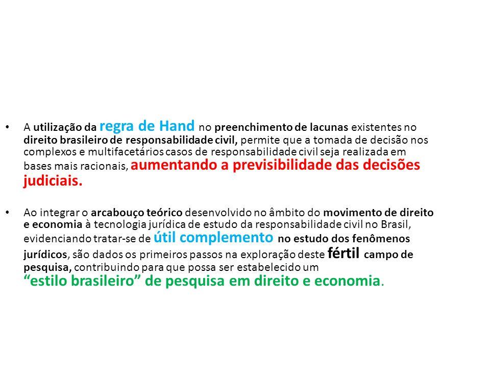 A utilização da regra de Hand no preenchimento de lacunas existentes no direito brasileiro de responsabilidade civil, permite que a tomada de decisão