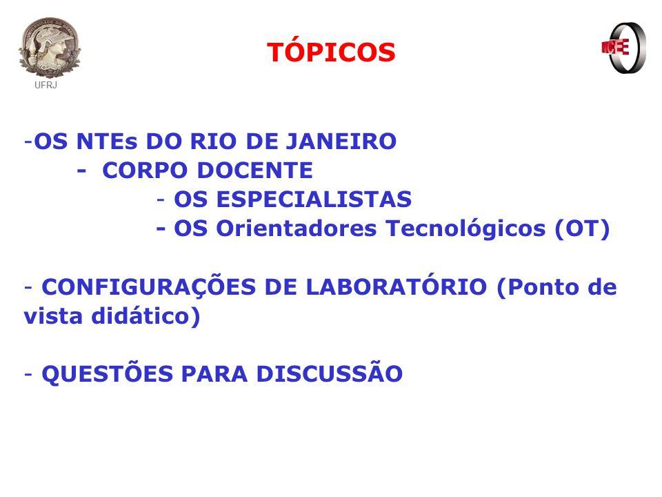 TÓPICOS -OS NTEs DO RIO DE JANEIRO - CORPO DOCENTE - OS ESPECIALISTAS - OS Orientadores Tecnológicos (OT) - CONFIGURAÇÕES DE LABORATÓRIO (Ponto de vis