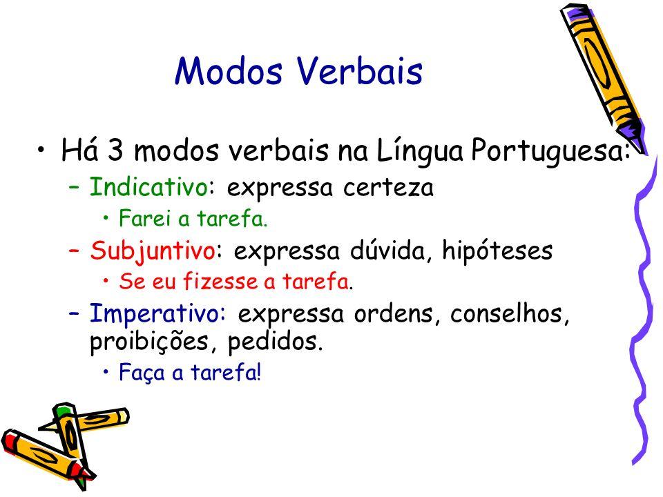 Modos Verbais Há 3 modos verbais na Língua Portuguesa: –Indicativo: expressa certeza Farei a tarefa. –Subjuntivo: expressa dúvida, hipóteses Se eu fiz