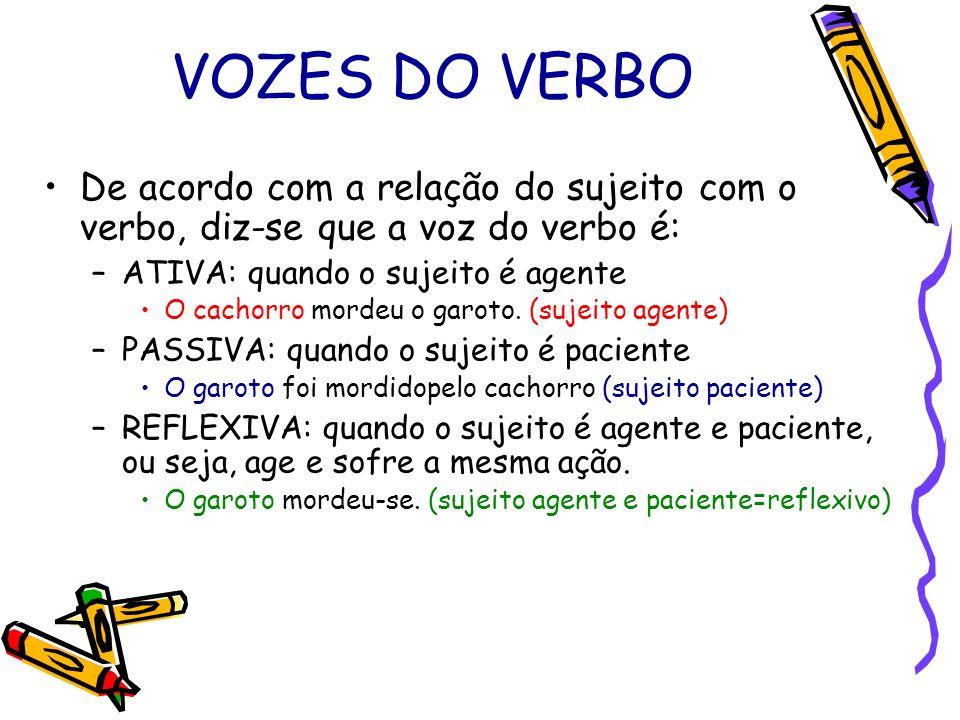 VOZES DO VERBO De acordo com a relação do sujeito com o verbo, diz-se que a voz do verbo é: –ATIVA: quando o sujeito é agente O cachorro mordeu o garo