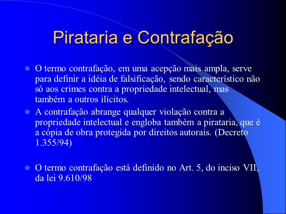 Pirataria e Contrafação O termo contrafação, em uma acepção mais ampla, serve para definir a idéia de falsificação, sendo característico não só aos cr