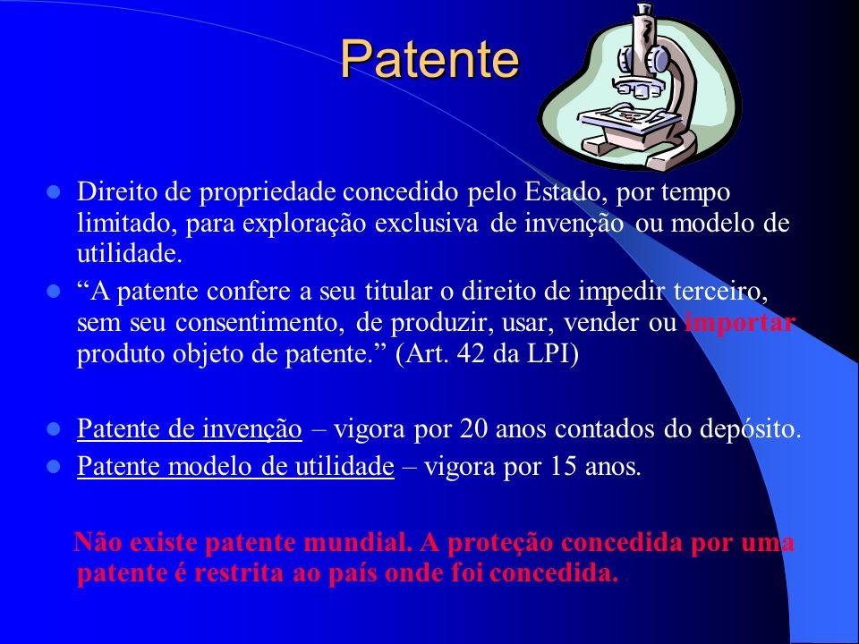 Patente Direito de propriedade concedido pelo Estado, por tempo limitado, para exploração exclusiva de invenção ou modelo de utilidade. A patente conf