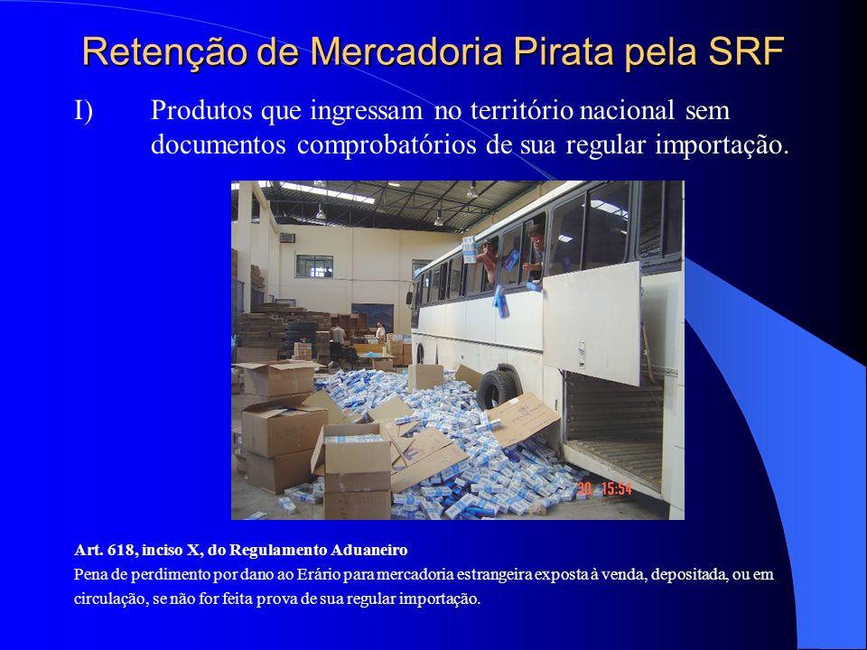 Retenção de Mercadoria Pirata pela SRF I) Produtos que ingressam no território nacional sem documentos comprobatórios de sua regular importação. Art.