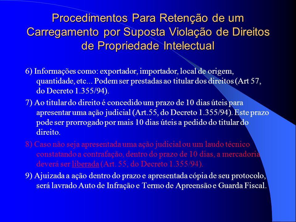 Procedimentos Para Retenção de um Carregamento por Suposta Violação de Direitos de Propriedade Intelectual 6) Informações como: exportador, importador