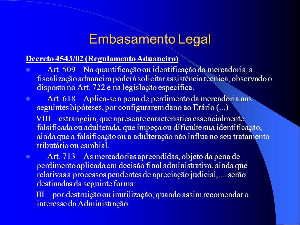 Embasamento Legal Decreto 4543/02 (Regulamento Aduaneiro) Art. 509 – Na quantificação ou identificação da mercadoria, a fiscalização aduaneira poderá