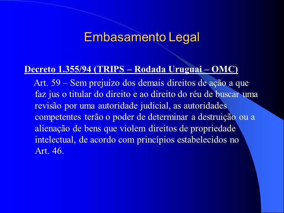 Embasamento Legal Decreto 1.355/94 (TRIPS – Rodada Uruguai – OMC) Art. 59 – Sem prejuízo dos demais direitos de ação a que faz jus o titular do direit