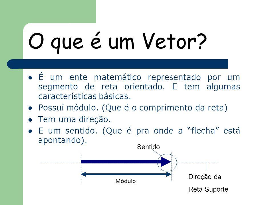 O que é um Vetor? É um ente matemático representado por um segmento de reta orientado. E tem algumas características básicas. Possuí módulo. (Que é o
