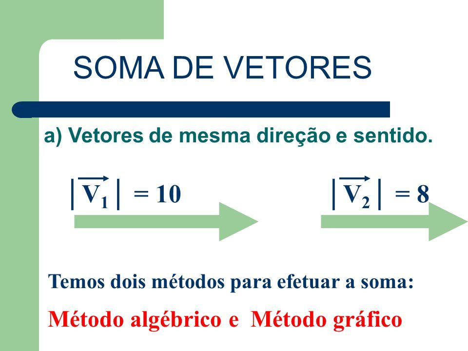 SOMA DE VETORES a) Vetores de mesma direção e sentido. V 1 = 10V 2 = 8 Temos dois métodos para efetuar a soma: Método algébrico e Método gráfico