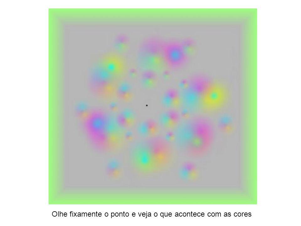Olhe fixamente o ponto e veja o que acontece com as cores