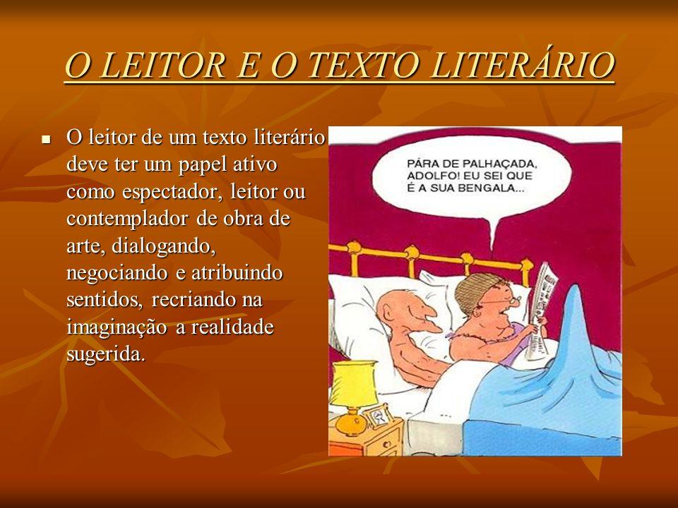 O LEITOR E O TEXTO LITERÁRIO O leitor de um texto literário deve ter um papel ativo como espectador, leitor ou contemplador de obra de arte, dialogand