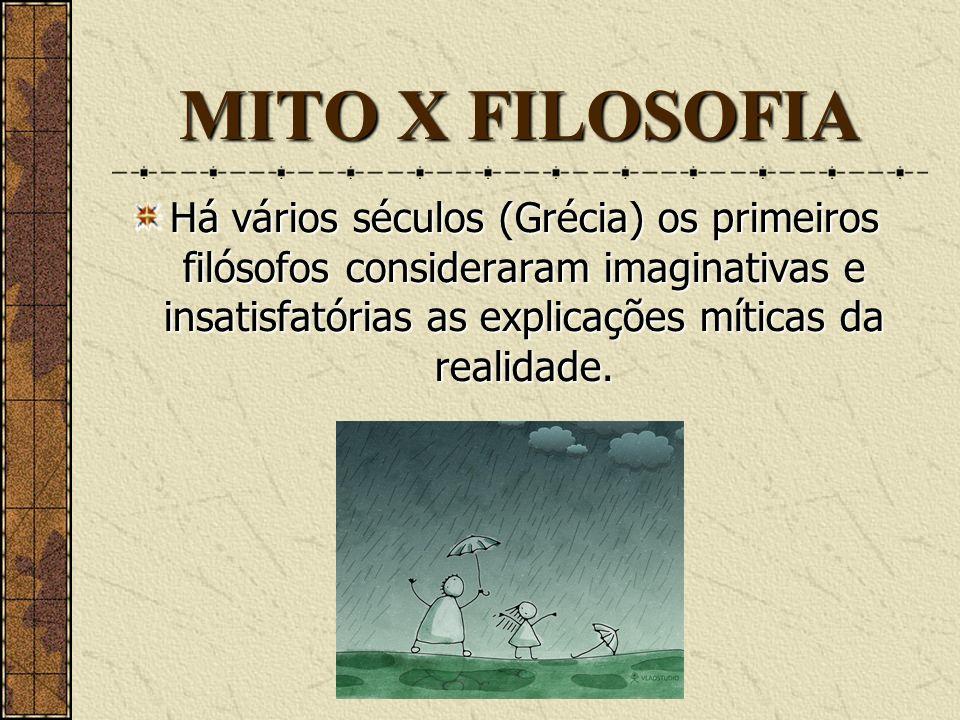 MITO X FILOSOFIA Há vários séculos (Grécia) os primeiros filósofos consideraram imaginativas e insatisfatórias as explicações míticas da realidade.