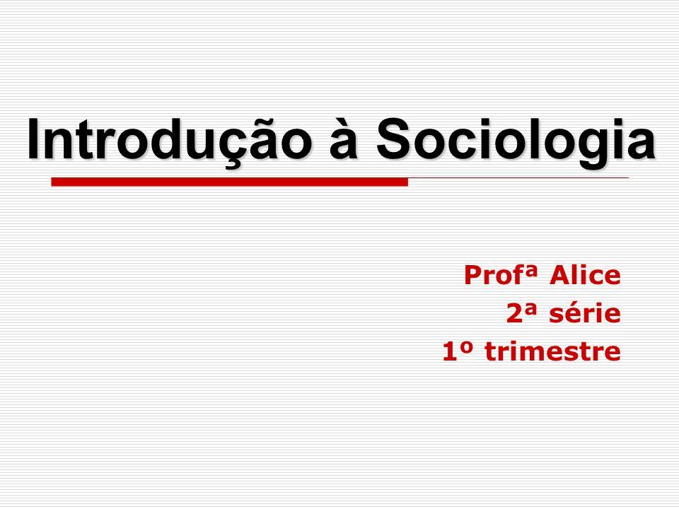 Introdução à Sociologia Profª Alice 2ª série 1º trimestre